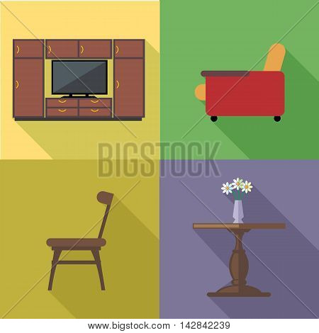 Home decoration icon set flat style. Digital vector image