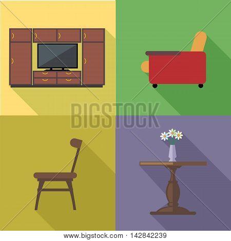 Home decoration icon set flat style. Digital vector image