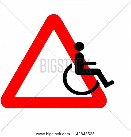 Funny Warning Road Sign Wheelchair Icon Riding Away Isolated On White