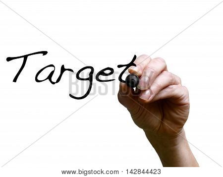 Hand Writing Word Target With Marker On Transparent Whiteboard