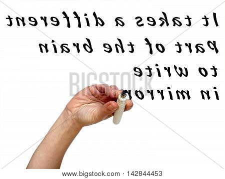 Upside Down Hand Mirror Writing Words In With Black Marker On Transparent Whiteboard