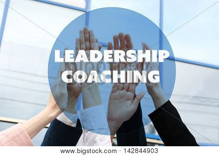 Leadership coaching concept. Business people hands.