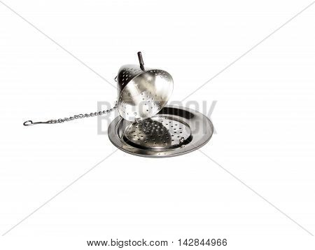 Teapot Shaped Open Tea Infuser Isolated On White