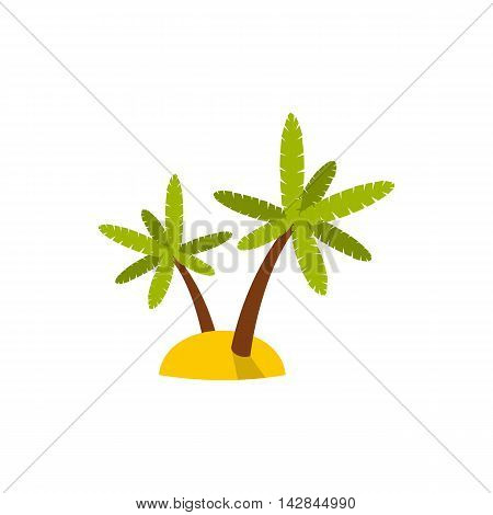 Palm trees icon in flat style on a white background
