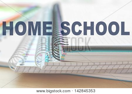 Home learning concept. School notebooks, closeup