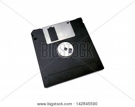 Micro floppy disk isolated on white, vintage object