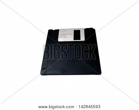 Micro floppy disk isolated on white, retro object