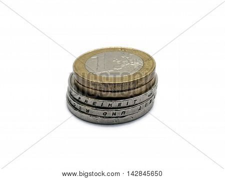 Pile Of Small Change Euro Money Coins Isolated On White
