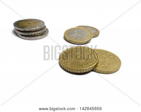 Small Change Euro Money Coins Isolated On White