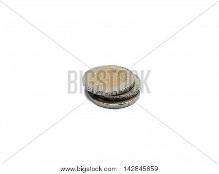 Small Change Euro Money 2 Euro Coins Isolated On White