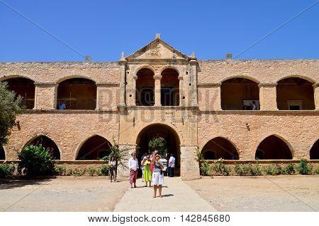 ARKADI GREECE - 08.08.2016: Greek Monastery church landmark architecture