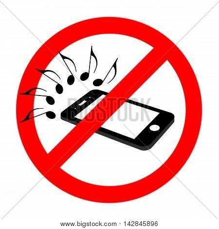 No cell phone sound sign flat cell phone