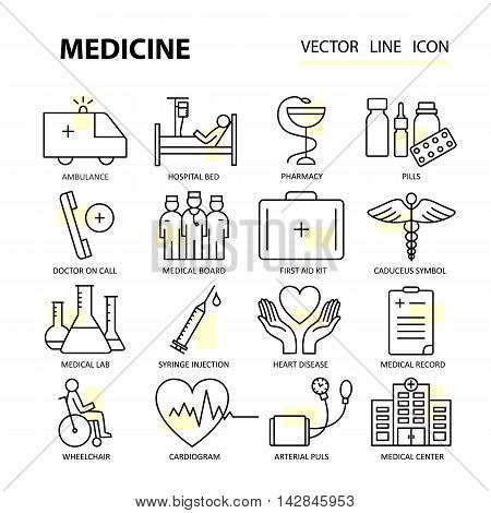 Set modern thin line web icons on medicine and health symbols. Premium quality vector logos.