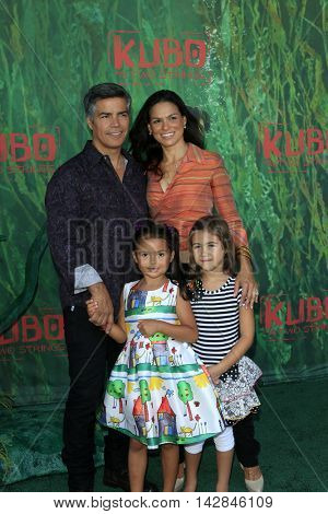 LOS ANGELES - AUG 14:  Esai Morales, Mariana Oliveira Morales, Elvimar Silva, guest at the