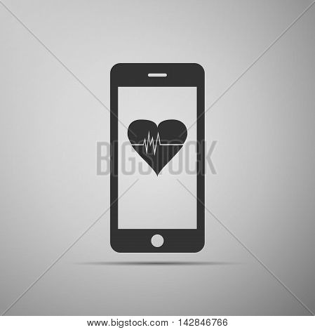 Smartphone with heart rate monitor function on grey background. Adobe illustrator