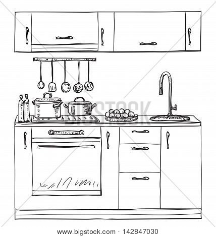 Kitchen cupboard, kitchen shelves, hand drawn furniture
