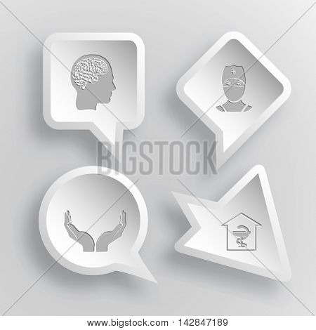 4 images: human brain, doctor, human hands, pharmacy. Medical set. Paper stickers. Vector illustration icons.