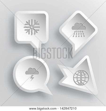 4 images: snowflake, rain, thunderstorm, globe. Weather set. Paper stickers. Vector illustration icons.