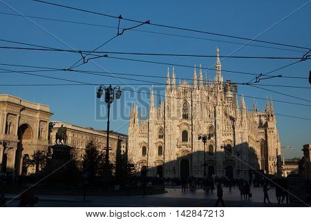 MILAN, ITALY - NOVEMBER 6, 2015: People in front of the Milan Cathedral (Duomo di Milano) in Milan, Lombardy, Italy.
