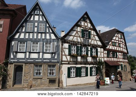 MARBACH AM NECKAR, GERMANY - JUNE 11, 2015: People in front of the traditional half-timbered house where Friedrich Schiller was born in 1759 in Marbach am Neckar, Baden-Wurttemberg, Germany.