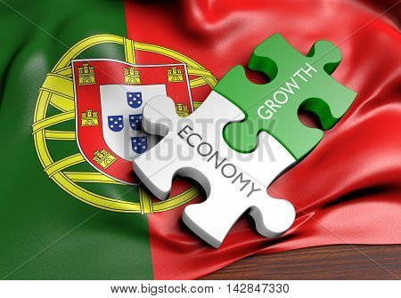 Portugal economy and financial market growth concept, 3D rendering
