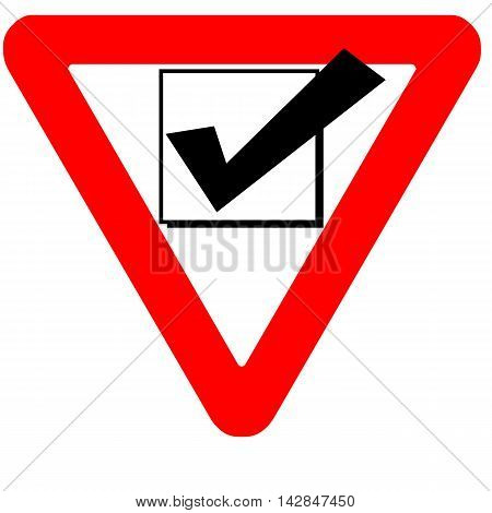 Funny warning road sign check box black icon isolated on white