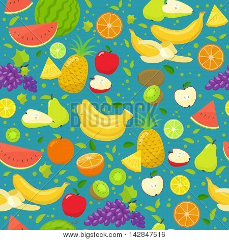 Seamless pattern of colorful cartoon fruits. Vector stock illustration.