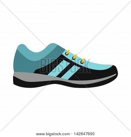Blue sneaker icon in flat style on a white background