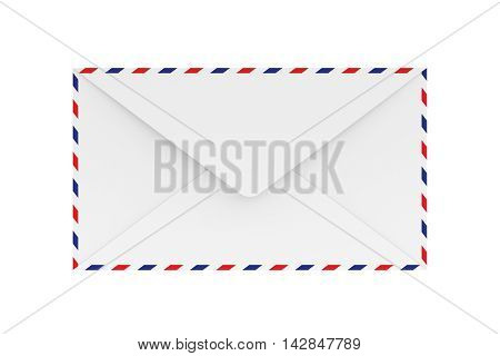 3D rendering of blank airmail envelope isolated on white background.