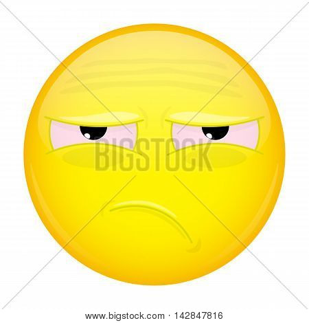 Tired emoji. Bad emotion. Unhappy emoticon. Illustration smile icon.