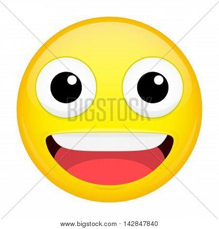 Smiling emoji. Laugh emotion. Sweet happy emoticon. Illustration smile icon.