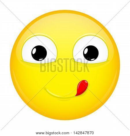 Lick lips emoji. Good emotion. Yummy emoticon. Illustration smile icon.