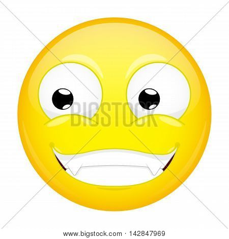 Smiling emoji. Smirk emotion. Grin emoticon. Illustration smile icon.