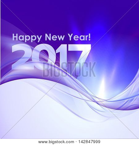 2017 Happy New Year background with blue wave. Vector illustration