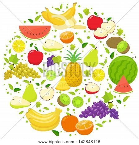 Set of colorful fruits in circle shape background. Template for packaging cards posters and eco food menu. Vector stock illustration.