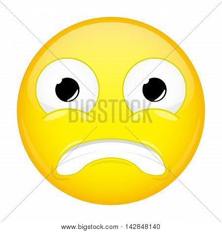 Shocked emoji. Fear emotion. Puzzled emoticon. Illustration smile icon.