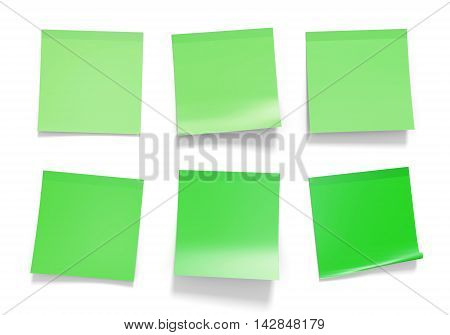 Set of green office sticky notes for reminders and important information, 3D rendering