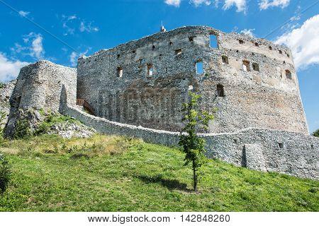 Ruin castle of Topolcany Slovak republic central Europe. Ancient architecture. Beautiful place. Travel destination.