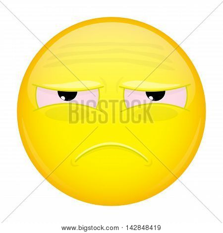 Tired emoji. Sad emotion. Unhappy emoticon. Illustration smile icon.
