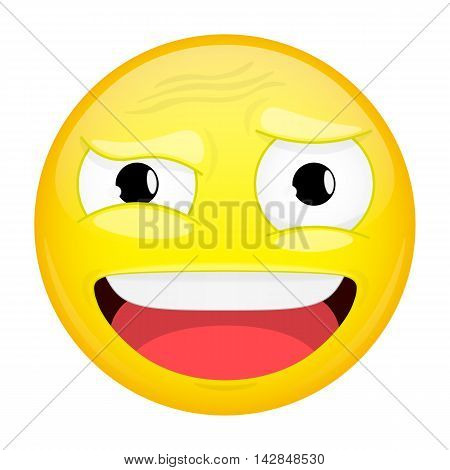 What emoji. Do not understand emotion. Puzzled emoticon. Illustration smile icon.