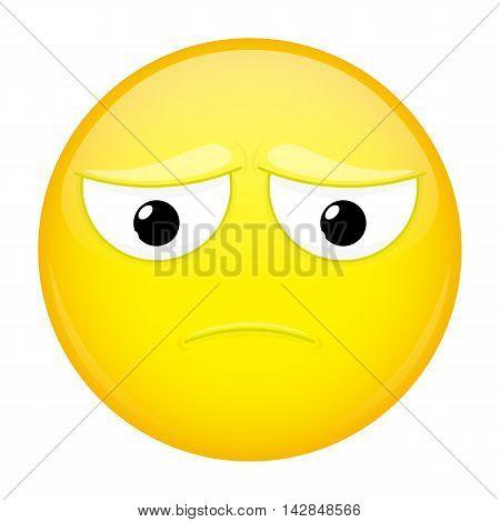 Sad emoji. Bad emotion. Depression emoticon. Illustration smile icon.