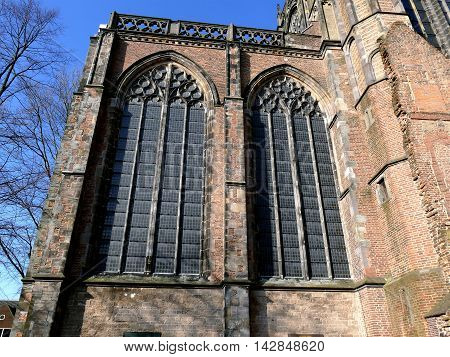 Utrecht, The Netherlands - February 27, 2016: Utrecht Dom Tower Church Stained Glass Windows