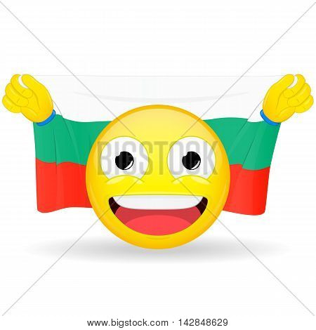 Emoji fan holds in hands flag behind his head. Bulgarian flag. Fan cares for his country. Glory spectator bawl emotion. Exult emoticon. Buff of sports games smile illustration.