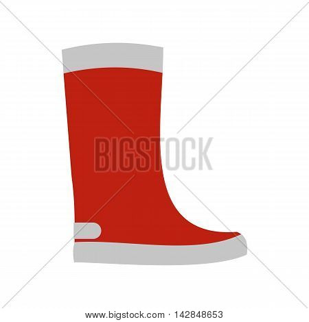 Red rubber boot icon in flat style on a white background