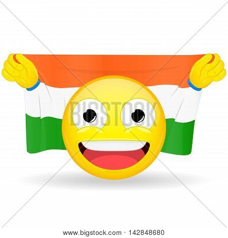 Emoji fan holds in hands flag behind his head. Indian flag. Fan cares for his country. Glory spectator bawl emotion. Exult emoticon. Buff of sports games smile illustration.