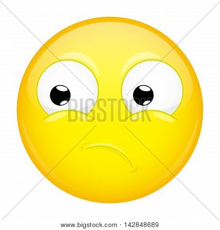 What emoji. Wow emotion. Puzzled emoticon. Illustration smile icon.