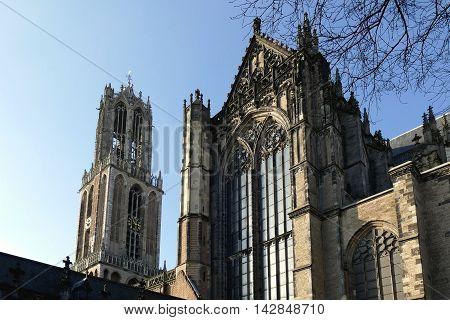 Utrecht, The Netherlands - February 27, 2016: Utrecht Dom Tower And Dom Church