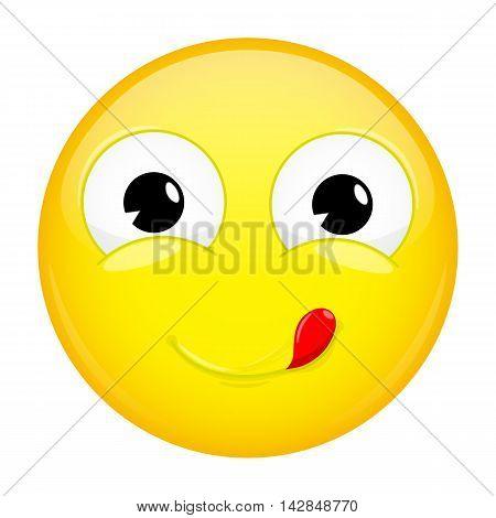 Lick lips emoji. Good emotion. Yummy emoticon.Illustration smile icon.