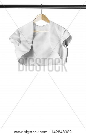 White satin jacket on wooden clothes rack isolated over white