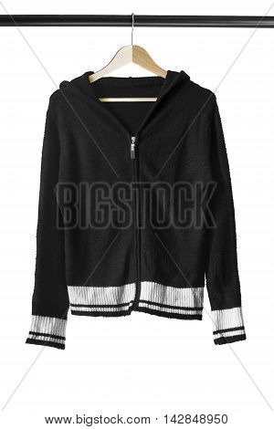 Black sport jacket on wooden clothes rack isolated over white